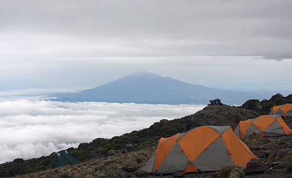 Basecamp on Kilimanjaro mountain with a view of mount Meru