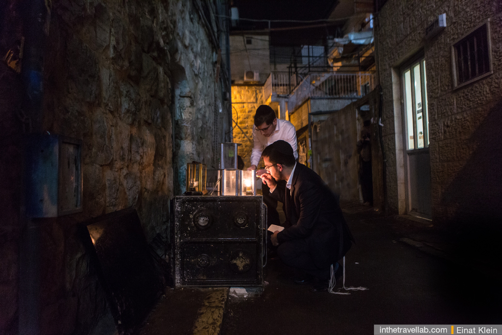 Hannukah celebration in Mea Shearim, one of the most ortodox Jewish quarters.